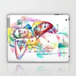 FRIDA KAHLO with cat - Watercolor portrait Laptop & iPad Skin