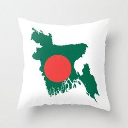 Bangladesh flag map Throw Pillow