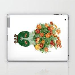 Marigolds in cat face vase  Laptop & iPad Skin