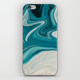 Blue White Abstract Marble iPhone Skin