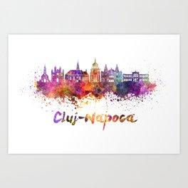 Cluj-Napoca skyline in watercolor splatter Art Print