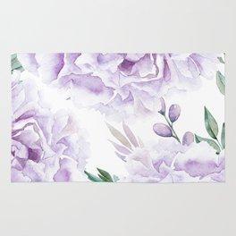 Pretty Purple Flower Garden Rug