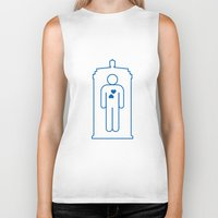 bathroom Biker Tanks featuring Doctor Who Bathroom Sign by Bright Ideas Studio