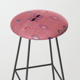 N61 - Lovely Pink Traditional Boho Farmhouse Moroccan Style Artwork Bar Stool