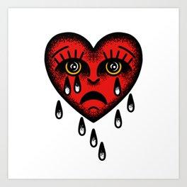 Traditional tattoo sad heart Art Print