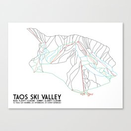 Taos Ski Valley, NM - Minimalist Trail Map Canvas Print