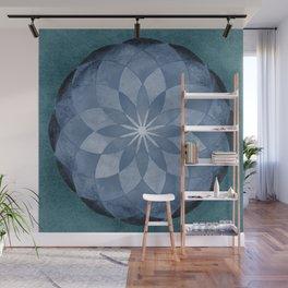 Watercolor Sacred Geometry Blue Flower Mandala Wall Mural