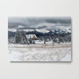 Snow and Log House Metal Print