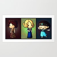 downton abbey Art Prints featuring Downton Abbey - The Crawley Sisters by Nitya Chirravur