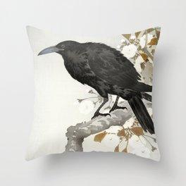 Crow sitting on a cherry  tree - Japanese vintage woodblock print art Throw Pillow