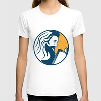 bible T-shirts featuring Saint Jerome Reading Bible Retro by patrimonio