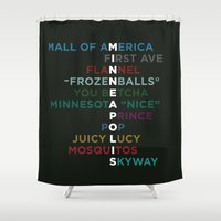 minneapolis Shower Curtains featuring The Words of Minneapolis by tinyconglomerate