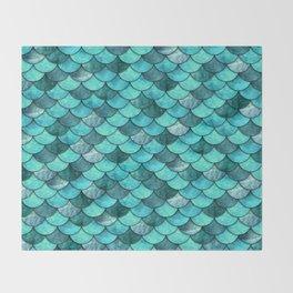 Mermaid Scales Turquoise Throw Blanket