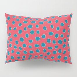 Polka Dots, Spots - Red Turquoise Teal Pillow Sham
