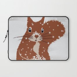 Red squirrel in the winter snow with white snowflakes cute home decor nursery drawing Laptop Sleeve