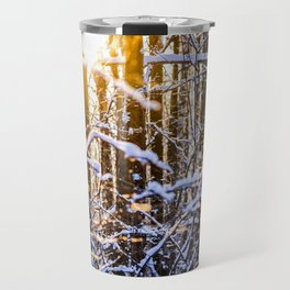 Sunset In The Winter Forest Travel Mug