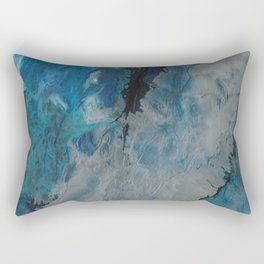 Silver Scape, abstract poured acrylic Rectangular Pillow