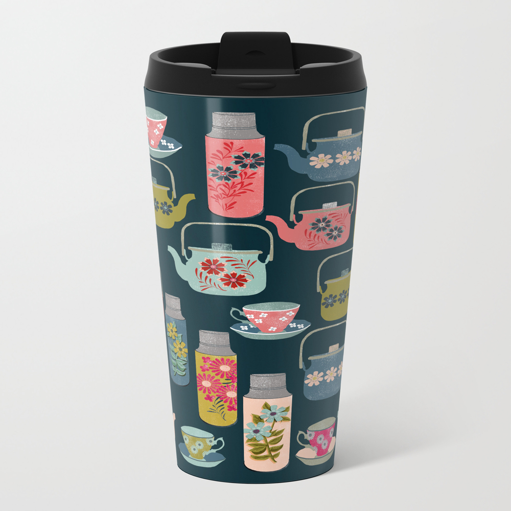 Vintage Thermos - Teacups And Teapots By Andrea La… Metal Travel Mug by Andrealaurendesign MTM3157288