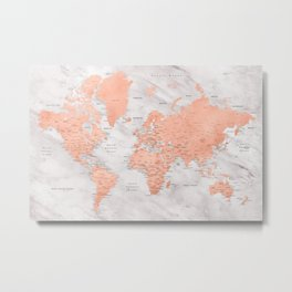"""Rose gold and marble world map with cities, """"Janine"""" Metal Print"""