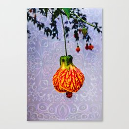 Stained glass and flower pendant Canvas Print