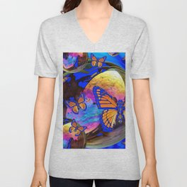 SURREAL BLUE  MONARCH BUTTERFLIES & IRIDESCENT BUBBLES  ART Unisex V-Neck