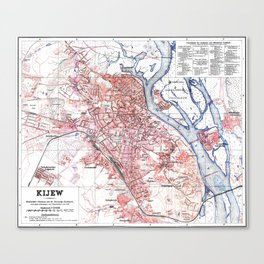 Vintage Map of Kiev Ukraine (1918) Canvas Print
