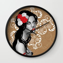 Goth Girl with Flowers in her Hair Wall Clock
