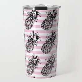 Pink Striped Pineapple Pattern Travel Mug