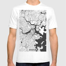 Boston Map Gray MEDIUM White Mens Fitted Tee