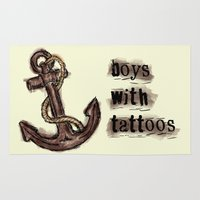 tattoos Area & Throw Rugs featuring boys with tattoos by Inphocus Photography