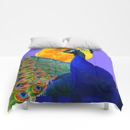 BLUE PEACOCK  FULL MOON ART ABSTRACT Comforters