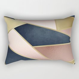 Rose Gold, Pink and Navy Blue Modern Geometric Pattern Rectangular Pillow