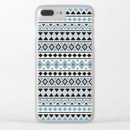 Aztec Essence Pattern II Light Blue Black White Clear iPhone Case
