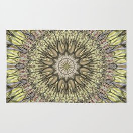 Mandala in cream yellow and lots of details Rug