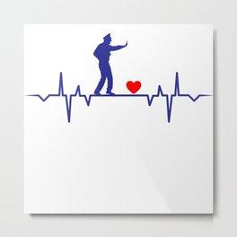 Policeman Heartbeat Love Gift T-Shirt Metal Print