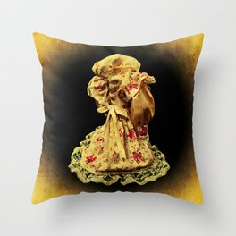 Horror In a Dress! Skull Doll Halloween Throw Pillow