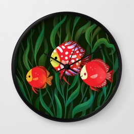 Red discus Wall Clock