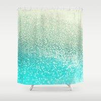 mint Shower Curtains featuring MINT by Monika Strigel