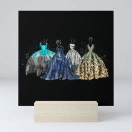 Evening Gowns Collection Fashion Illustration Mini Art Print