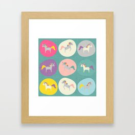 Cute Unicorn polka dots teal pastel colors and linen texture #homedecor #apparel #stationary #kids Framed Art Print