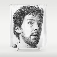 benedict Shower Curtains featuring Benedict Theater Sketch by RebekahStanhope