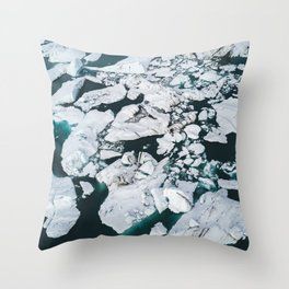 Icelandic glacier icebergs from above - Landscape Photography Throw Pillow