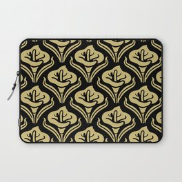 Calla Lily Pattern Black and Gold Laptop Sleeve