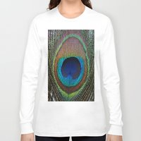 peacock feather Long Sleeve T-shirts featuring Peacock Feather by MetallicSkin