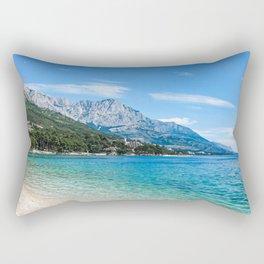 Blue Ocean Beach | Caribbean Island Clear Water Waves in Europe Mountain Landscape Beautiful Sky Rectangular Pillow