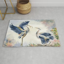 Great Blue Heron Couple Rug