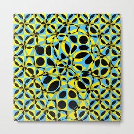 yellow blue circle pattern Metal Print
