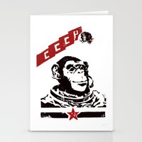 soviet Stationery Cards featuring Soviet Space Monkey by Chris Kawagiwa