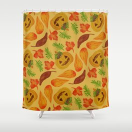 retro lovely jack-o-lantern pattern Shower Curtain
