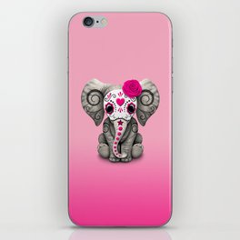 Pink Day of the Dead Sugar Skull Baby Elephant iPhone Skin